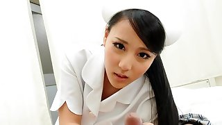 Smooth Asian nurse getting banged from the back doggy style