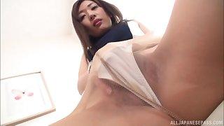 Solo clothed masturbation session with Japanese MILF Sakaguchi Rena