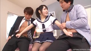 Hardcore Japanese threesome with Kanae Ruka in a uniform and two guys