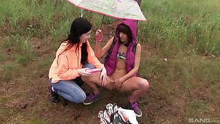 Lesbians love to unravel in nature and partying