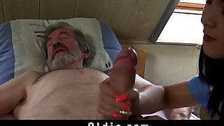 Teen nurse Daughter Dee fuck treatment for sick old patient
