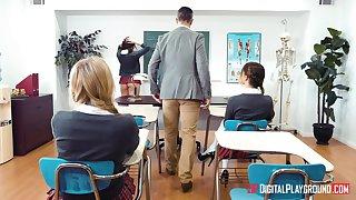 Teacher taps into young Kimber Motherland and Kristen Scott's sexualities