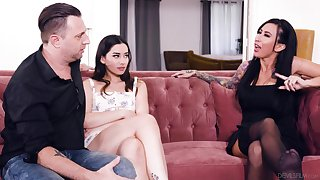 Hot tatted up MILF Lily Lane joins these two to defend it a threesome